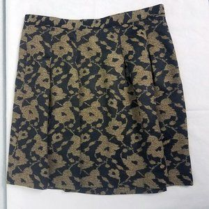 Ann Taylor LOFT Women's Black Gold Floral Skirt